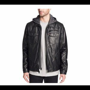Levi's Sherpa Lined Faux Leather Hooded Jacket, S